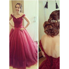 Off-the-Shoulder Tulle Ball-Gown Beautiful Prom Dresses (018210338)