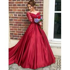 Ball-Gown Off-the-Shoulder Sweep Train Prom Dresses (018218039)