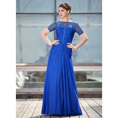 Corte A/Princesa Escote redondo Gasa Encaje Moderno Vestidos de madrina (008211448)