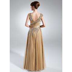 Corte A/Princesa Charmeuse Sin mangas Escote en V Hasta el suelo Cremallera lateral Vestidos de madrina (008213143)