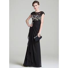 Trompete/Sereia Tecido de seda Sem magas Decote redondo Longos Zipper nas costas Vestidos para a mãe da noiva (008072697)