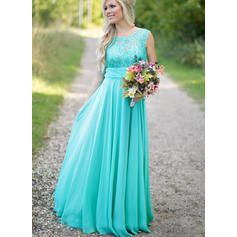Ruffle Scoop Neck With Beautiful Chiffon Bridesmaid Dresses