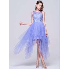 A-Line/Princess Scoop Neck Asymmetrical Tulle Homecoming Dresses With Appliques Lace (022214040)