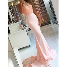 Satin Sleeveless Trumpet/Mermaid Prom Dresses High Neck Court Train