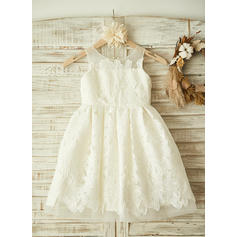 A-Line/Princess Scoop Neck Knee-length With Appliques Lace Flower Girl Dresses