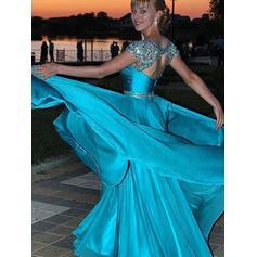 Chifón satinado Vestidos de noche con Cuentas Lentejuelas Escote redondo Corte A/Princesa (017217012)