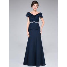 A-Line/Princess Chiffon Short Sleeves Off-the-Shoulder Floor-Length Zipper Up Mother of the Bride Dresses