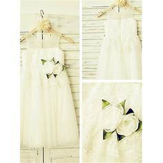 A-Line/Princess Scoop Neck Ankle-length With Flower(s) Tulle/Lace Flower Girl Dresses