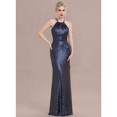Sheath/Column Halter Floor-Length Sequined Bridesmaid Dress With Bow(s) (007116647)