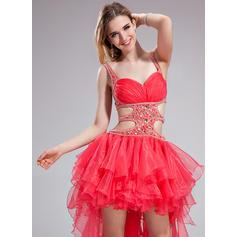 Asimétrico Organdí Corte A/Princesa Novio Vestidos de baile de promoción (018025630)