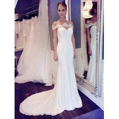 Trumpet/Mermaid Chiffon Sleeveless Scoop Court Train Wedding Dresses (002144875)