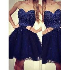 Organza Sleeveless Short/Mini Sweetheart Homecoming Dresses