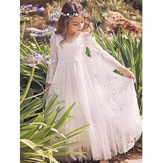 Simple Ankle-length A-Line/Princess Flower Girl Dresses V-neck Lace Long Sleeves