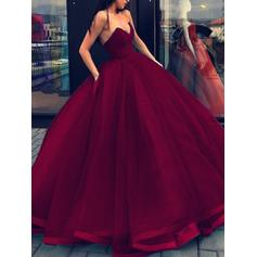 Organza Sleeveless Ball-Gown Prom Dresses Sweetheart Floor-Length