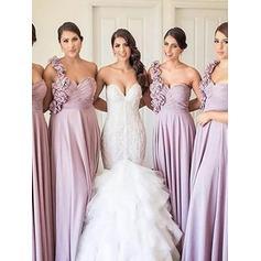 A-Line/Princess One-Shoulder Floor-Length Bridesmaid Dresses With Ruffle