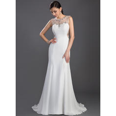 Trumpet/Mermaid Chiffon Prom Dresses Beading Split Front Scoop Neck Sleeveless Sweep Train (018047241)