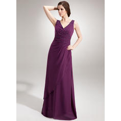 A-Line/Princess V-neck Floor-Length Evening Dresses With Ruffle Beading Sequins (017020666)