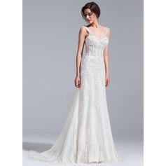 Sans manches Standard Grande taille Chérie avec Tulle Robes de mariée (002071236)