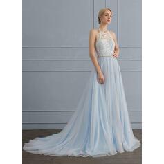 Forme Princesse Dos nu Traîne moyenne Tulle Robe de mariée avec Brodé (002124266)