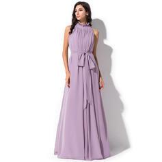 Corte A Gola alta Longos Tecido de seda Vestido de baile com Curvado Babados em cascata (018112714)