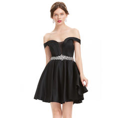 A-Line/Princess Off-the-Shoulder Short/Mini Satin Homecoming Dresses With Beading (022214179)