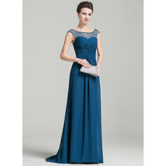 A-Line/Princess Chiffon Sleeveless Scoop Neck Sweep Train Zipper Up Mother of the Bride Dresses