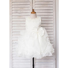 Scoop Neck A-Line/Princess Flower Girl Dresses Satin/Tulle Ruffles/Lace/Beading Sleeveless Knee-length