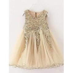Modern Tea-length A-Line/Princess Flower Girl Dresses Scoop Neck Tulle/Sequined Sleeveless