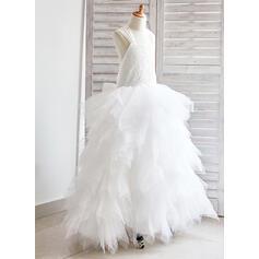 Robe Marquise Longueur cheville Robes à Fleurs pour Filles - Tulle/Dentelle Sans manches Bretelles avec À ruban(s) (010091199)