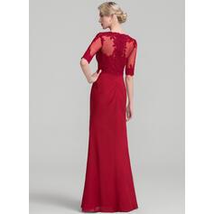 Tubo Decote redondo Longos Tecido de seda Renda Vestido para a mãe da noiva com Pregueado (008114245)