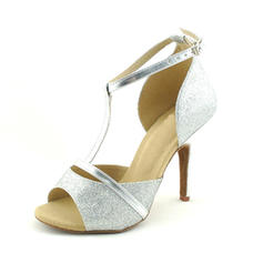 Women's Latin Heels Sandals Sparkling Glitter With T-Strap Dance Shoes