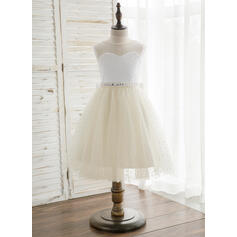 Vestidos princesa/ Formato A Coquetel Vestidos de Menina das Flores - Cetim/Tule Sem magas Decote redondo com V volta