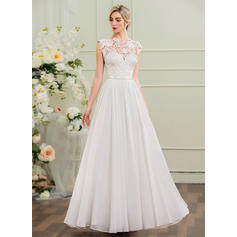 A-Line/Princess Scoop Neck Floor-Length Chiffon Wedding Dress (002107547)