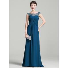 Corte A/Princesa Gasa Sin mangas Escote redondo Barrer/Cepillo tren Cremallera Vestidos de madrina (008074207)