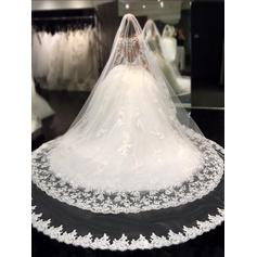 Long Sleeves Scoop Royal Train Organza Wedding Dresses