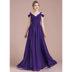 A-Line/Princess Floor-Length Chiffon Bridesmaid Dress With Ruffle (007104734)