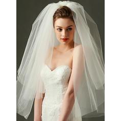 Yema del dedo velos de novia Tul Dos capas con Corte de borde 31.50 pulgada (80cm) Velos de novia
