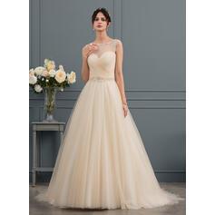 Robe Marquise/Princesse Illusion Traîne moyenne Tulle Robe de mariée avec Brodé (002153427)