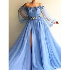A-Line/Princess Scoop Neck Tulle Long Sleeves Floor-Length Beading Evening Dresses