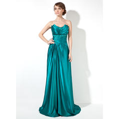 Sheath/Column Sleeveless Ruffle Beading Charmeuse Prom Dresses (018002473)