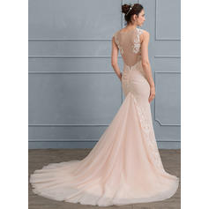 Trumpet/Mermaid Court Train Chiffon Tulle Wedding Dress With Appliques Lace (002111933)