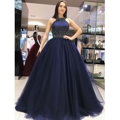 Sweep Train Regular Straps Tulle Ball-Gown Prom Dresses