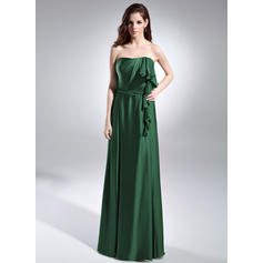 A-Line/Princess Strapless Charmeuse Sleeveless Floor-Length Cascading Ruffles Evening Dresses