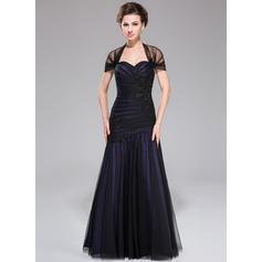 Trumpet/Mermaid Taffeta Tulle Sleeveless Off-the-Shoulder Floor-Length Zipper Up Mother of the Bride Dresses (008040827)