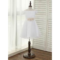 Forme Princesse Longueur genou Robes à Fleurs pour Filles - Tulle Sans manches Bretelles avec Fleur(s) (010141195)