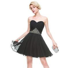 Chiffon Strapless A-Line/Princess Sweetheart Homecoming Dresses