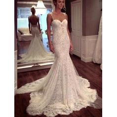 Modern Court Train Trumpet/Mermaid Wedding Dresses Sweetheart Lace Sleeveless
