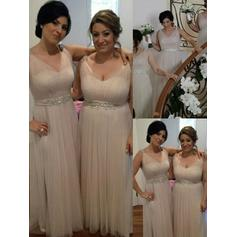 V-neck General Plus A-Line/Princess Tulle Sleeveless Bridesmaid Dresses