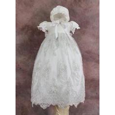 Tul Escote redondo Encaje Vestidos de bautizo para bebés con Manga corta (2001216824)