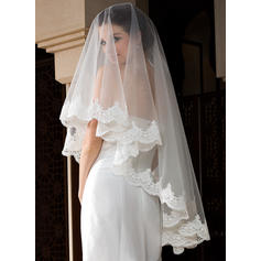 Waltz Bridal Veils Tulle One-tier Oval With Lace Applique Edge Wedding Veils
